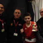 Jack, with coaches Jamie Carter, Andy Wilford and Dennis Jarvis.
