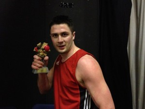 Eddie and his winners trophy.